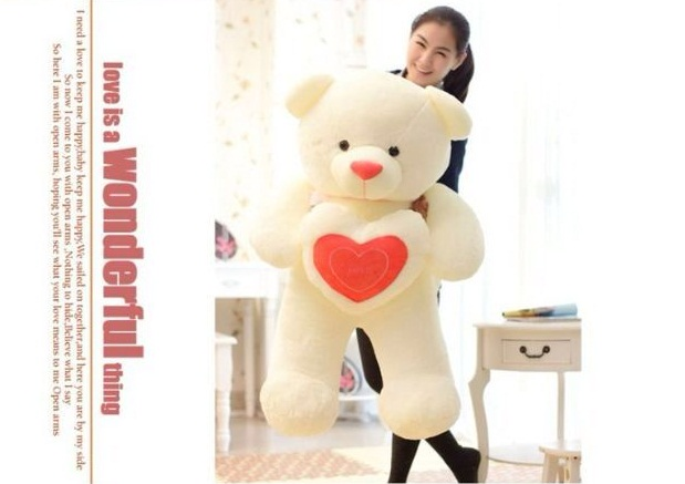 Love Heart Teddy 80cm -- pink heart