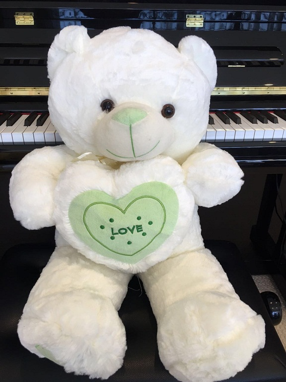 Love Heart Teddy 80cm-- Green Heart